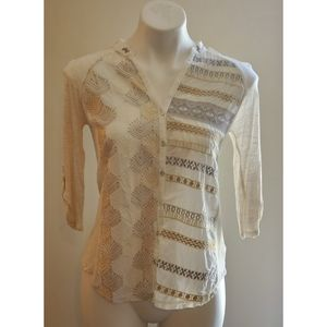 Anthropologie tiny embroidered button down top